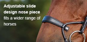 Adjustable slide design nose piece fits a wider range of horses