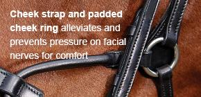 Cheek strap and padded cheek ring alleviates and prevents pressure on facial nerves for comfort
